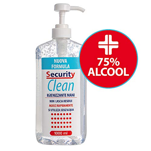 Security Clean Gel Igienizzante Mani 1 Litro Con 75% Alcol Disinfettante Completo di Dosatore, Elimina al 99% Batteri Senza Utilizzo di Acqua (1000 ML Plus)