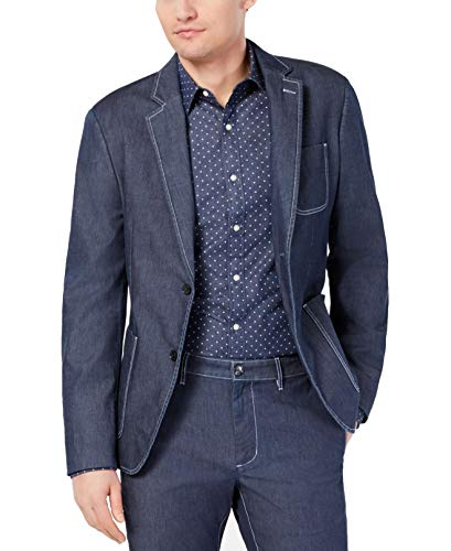 Michael Kors Mens Chambray Two Button Blazer Jacket, Blue, 44 Regular