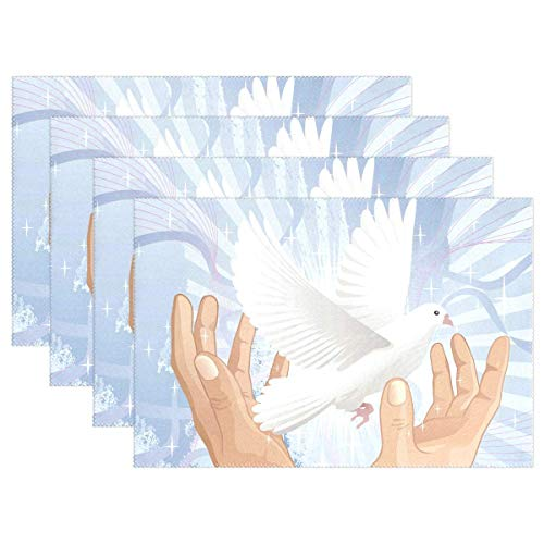 Promini Platzdeckchen Peace Vogel Vintage Blume Tischmatten Anti-Rutsch-Waschbar Hitzebeständig Platzmatten für Küche Esszimmer Dekor Tablett Set von 4