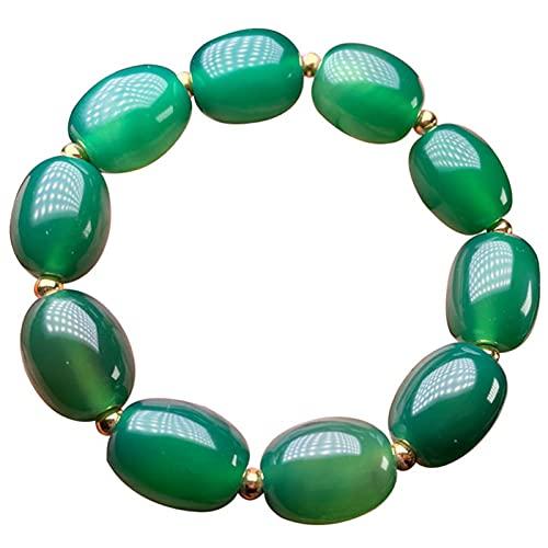 J.Memi's Ágata Piedra Natural Pulsera, Bracelet Cuentas De Piedras Preciosas Semipreciosas Naturales Cuff Moda Accesorios De Regalo,Verde