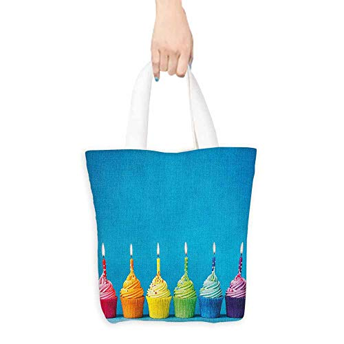 Handbag or crossbody messenger bag,Birthday Cupcakes in Rainbow Colors with Candles Fun Homemade Party Food Sweet Delicious,Reusable Grocery Bags,16.5'x15', Multicolor