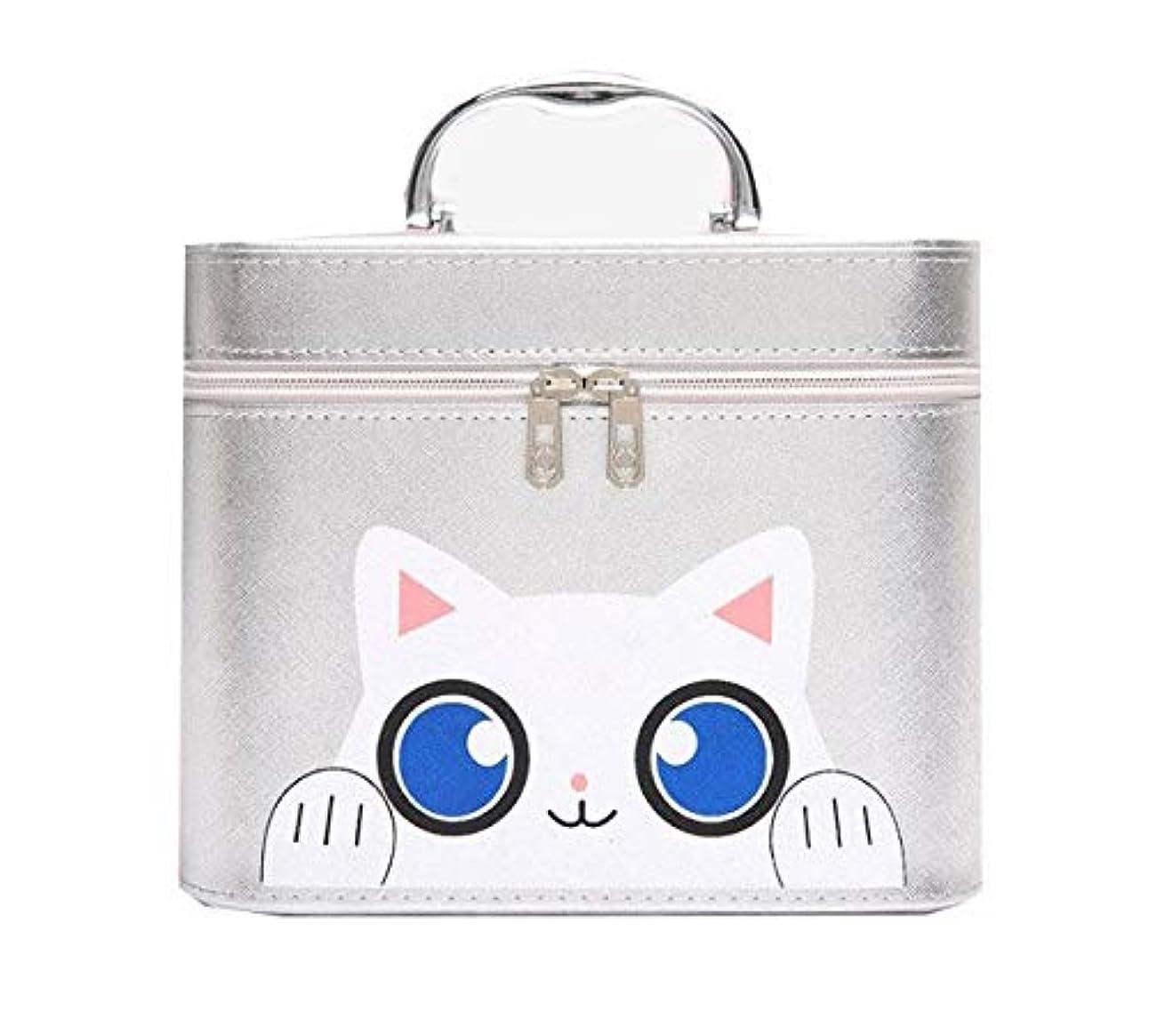 ターミナル近似持続的化粧箱、シルバー漫画猫化粧品ケース、ポータブル旅行化粧品ケース、美容ネイルジュエリー収納ボックス (Size : L)