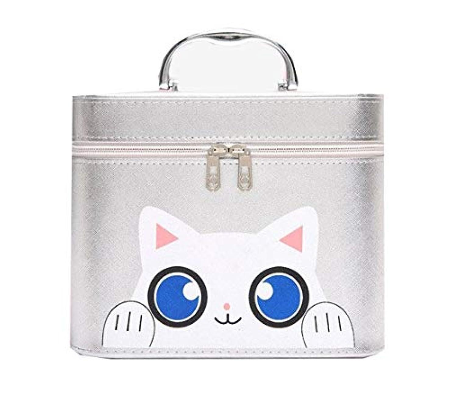 勧めるベアリングサークル凝縮する化粧箱、シルバー漫画猫化粧品ケース、ポータブル旅行化粧品ケース、美容ネイルジュエリー収納ボックス (Size : L)