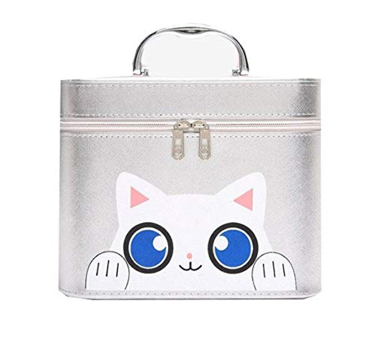 不格好放出どれか化粧箱、シルバー漫画猫化粧品ケース、ポータブル旅行化粧品ケース、美容ネイルジュエリー収納ボックス (Size : L)