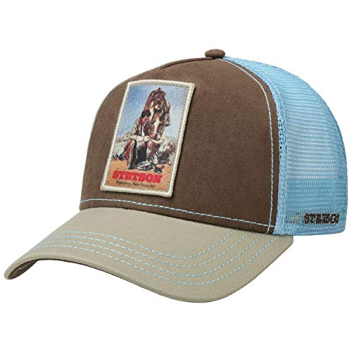 Stetson Last Drop Trucker Cap Herren - Truckercap mit Baumwolle - Schirmmütze größenverstellbar - Meshcap Snapback-Verschluss - Basecap Curved Brim - Baseballcap - Früjahr/Sommer hellblau One Size