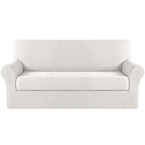 Funda protectora para sofá de Turquoize, elástica, 2 piezas, extra grande, para sala de estar, sofá, sillón, sillón, protector de muebles