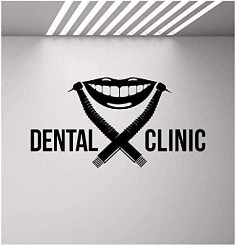 Adesivo Murale Clinica Dentale Logo Dentista Trapano Sorriso Stomatologia Appliques Dentali Poster Murale Rimovibile Wdecal 110X57Cm