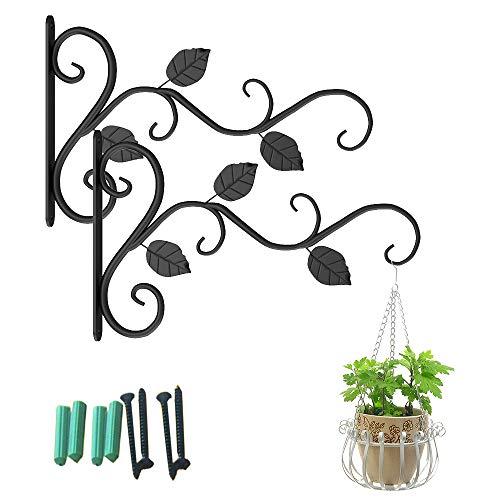 Soporte de pared para macetas, 2 unidades, soporte de pared, soporte para plantas, ganchos de hierro, colgadores de pared, para cestas colgantes de flores, jardín, decoración exterior (negro)