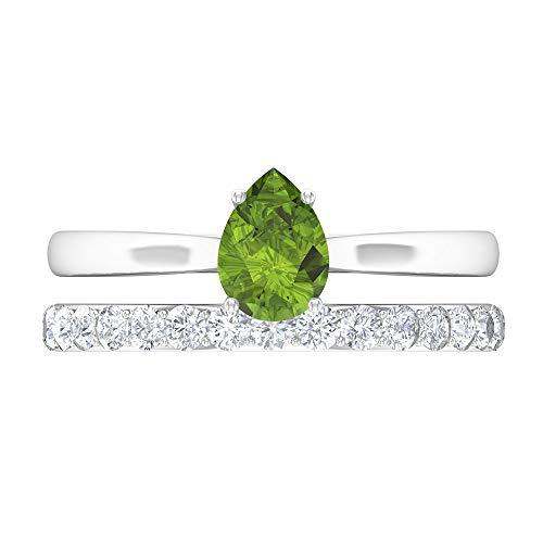 Rosec Jewels 14 quilates oro blanco pera Round Brilliant Green Peridoto/Olivino Moissanite