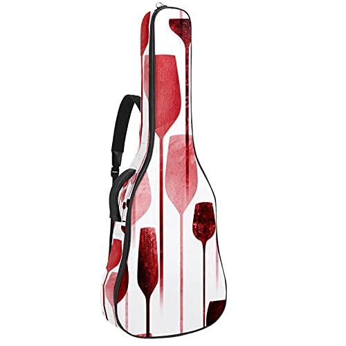 Bolsa de guitarra acústica impermeable Guitarras mochila gruesa suave acolchada clásica funda de guitarra roja copa de vino
