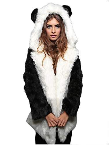 Dawwoti Vrouwen Faux Pelz-lange parka outwear warm lange mouwen hoodie trekker voor het kerstfeest