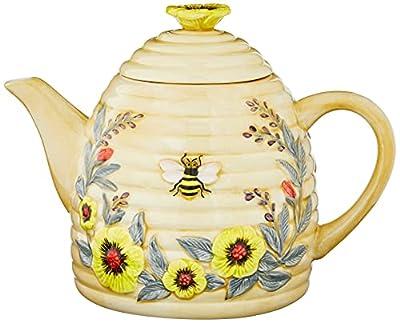 Certified International Bee Sweet 32 oz. 3-D Beehive Teapot, Multi Colored