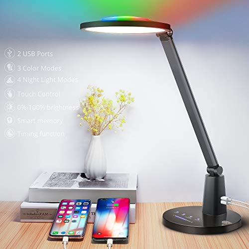 Multifunctional LED Desk Lamp, Fully Dimmable Office Desk Lamps with RGB Night Lights, Adjustable Eye-Caring Desk Lighting with 2 USB Ports & 3 Light...