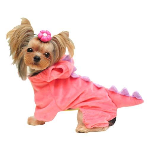 DELIFUR - Sudadera con Capucha de Dinosaurio para Perro, Disfraz de Halloween, para Perros pequeños y medianos (Rosa, L)