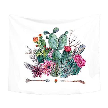 Cactus Decor Tapestry Wall Hanging Decor Art Room Decor, Yellow and Green Watercolor Bedroom Living Room Dorm Wall Hanging Tapestry (GT11) (W:79'H:59', cactus 9)