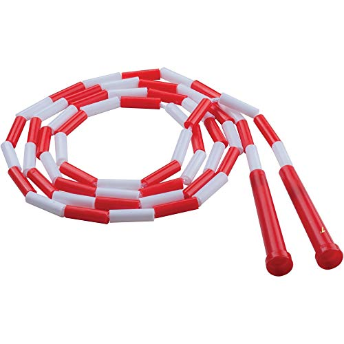 Champion Sports Segmented Jump Rope for Fitness, 7 Feet Length, Red and White - Classic Beaded Jump Ropes for Physical Education, Gym Glass, Personal Use - Premium Skipping Rope for Kids, Adults