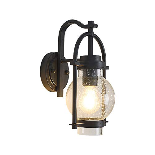 YBright Rustic Small Wall Light Fixture Outdoor Waterproof Matte Black Aluminum Housing Rust-Proof Wall Mount Lamp Sconce with Clear Seeded Glass Shade for Front Door House Deck Porch Lighting