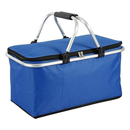 Your's Bath - Cesta de picnic para 2 – 8 personas, gran bolsa de playa, isotérmica plegable, cesta de picnic, impermeable, para playa, vacaciones, camping, escuela, 45 x 28 x 26 cm, color azul