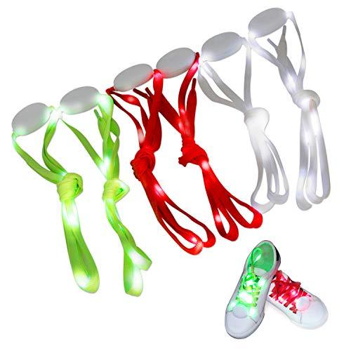 Novelty Place [3 Pairs] LED Light Up schoenveters met 3 modi voor feesten, dansen, hardlopen en DIY - 3 paar (blauw, rood en wit)