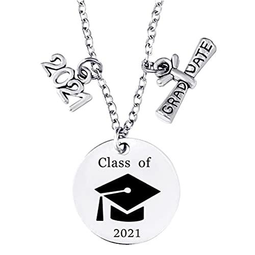 WINBST Collar, 2021, tamaño ajustable, sombrero de soltero, redondo, de acero inoxidable, colgante para mujeres y amigos de graduación.
