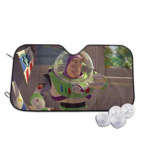 185 Parasol De Coche,Toy Story Buzz Lightyear Parasol para Parabrisas Delantero, Protector De Coche De Calidad Suave, Reflectores Solares para Coche Minivan SUV,76x140cm