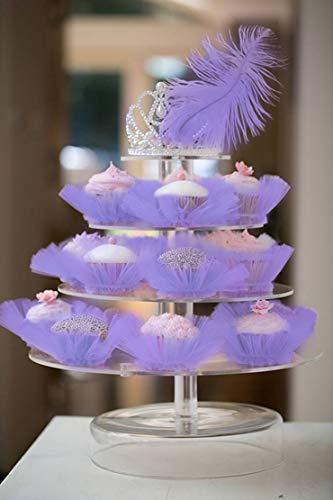 Deluxe Wedding Birthday Girls Party Events Cake Tutu Decorations Pink White Black Purple Rosy (Cupcake Tutu, Purple)