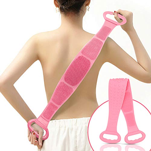 Silicone Bath Body and Skin Brush Belt, Body Back Scrubber,Easy to a Clean Eco Friendly,Long Lasting for Women & Men Comfort (Pink)