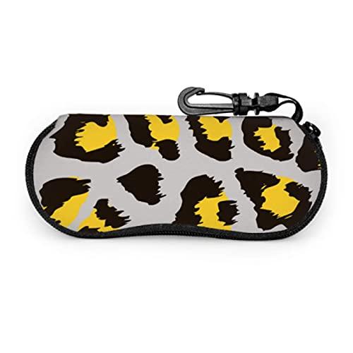 Gses Case, diseño de leopardo divertido gafas de sol Dring funda suave ultra ligera neopreno cremallera gafas caso con mosquetón