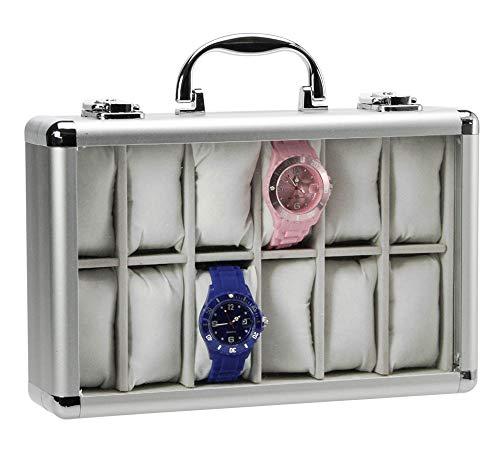 SAFE 265-2 ALU Uhrenaufbewahrungsbox Herren für 12 Uhren-Schmuckhalter in sehr hell grauem Samt (leer) - abschließbare Uhren Box mit Glasdeckel und abnehmbaren Uhrenkissen