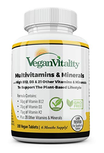 Vegane Multivitamine & Mineralien mit hochwirksamen Vitaminen B12, D3 & K2. 180 Multivitamin-Tabletten – 6-monatige Versorgung. Gebrauch: Für Veganer und Vegetarier