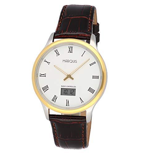 Eurochron Elegante Herren Funk Armbanduhr (JUNGHANS-Werk) Edelstahl Leder Gold Silber 964.4702