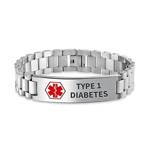 Bling Jewelry Tipo 1 diabete identificazione Medici Allarme Medico ID Orologio Banda Link Braccialetto per Uomo 8 Pollici Acciaio Personalizzato inciso