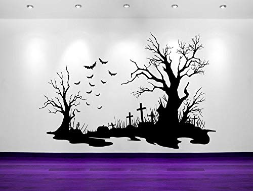 Halloween Decal Funny Sticker Fall Sticker Spooky, Halloween, Cemetery Scene, Bats, Tombstones, Decorations, Wall Decal, Sticker, Vinyl, Wall, Home, Holiday Decor, Tim Burton, Gothic 62 Inches