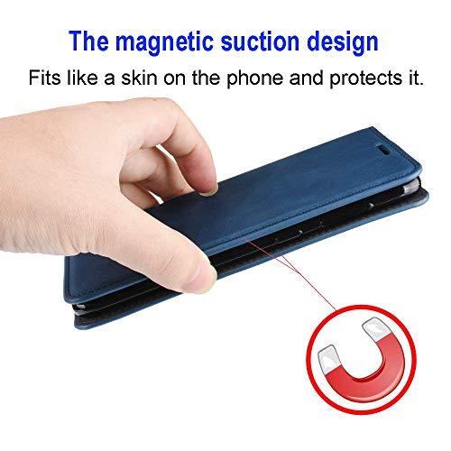 Haoye Passend für Huawei P40 Pro Hülle, hat Magnet-Adsorption-Fähigkeit Premium PU Leder Handyhülle. Schwarz - 4