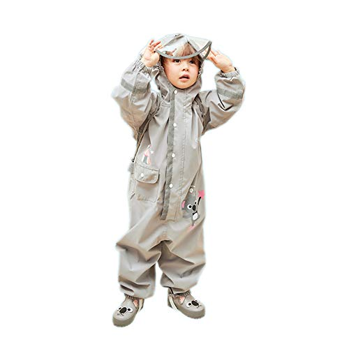 D C.Supernice Childrens All in One Waterproof Suit Toddler Kids Cartoon Unicorn Dinosaur Koala Puddle Suits Lightweight Raincoat Grey