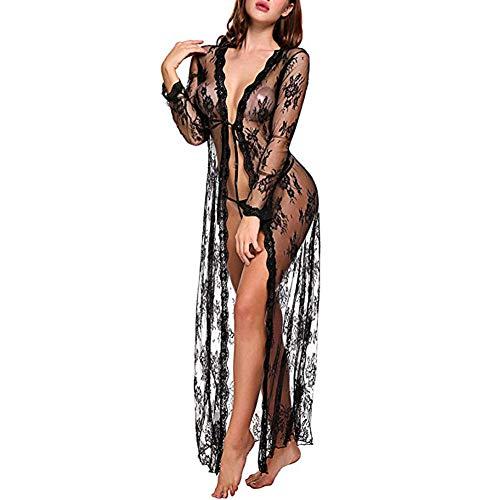Erotische Unterwäsche Robe Fotografie Frauen Dessous Sexy Kimono Weiche Strand Spitzenkleid Lange Lange Ärmel Mesh Durchsichtig Kleid Solide Deep V Neck-Black_L