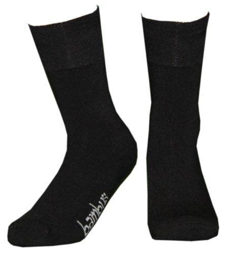 Wowerat 3 Paar Bambus-Socken mit Frottee-Sohle ohne Gummi, Farbe:Schwarz;Größe:39-42