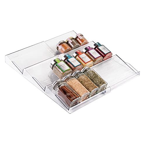 mDesign Estantería para botes de especias especial para cajón – práctico accesorio de cocina para organizar especias – Especiero con 3 niveles – Color: transparente/metálico