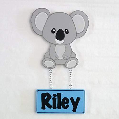 Placa Decorativa para Puerta Infantil Personalizada con tu Nombre y con Forma de Animales (Koala)