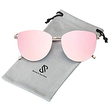 SOJOS Mirrored Flat Lens Fashion Sunglasses for Women SJ1085 with Gold Frame/Gradient Pink Mirrored Lens