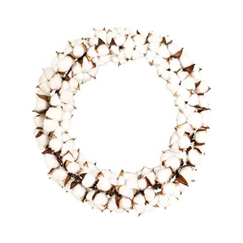HSD Blumenkranz, Türkranz, dekorativer Kranz, Natur, KranzCotton Stems Kranz mit voller weißer Baumwolle für Haustür Wandhochzeitsdekor