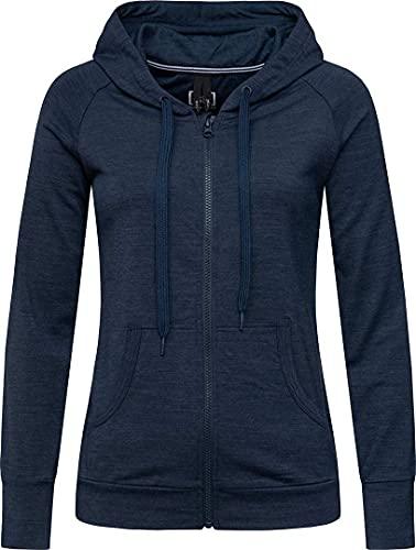 super.natural Veste à Capuche Confortable pour Femmes, Laine mérinos, W ESSENTIAL ZIP HOODIE, Taille: XS, Couleur: Bleu foncé chiné