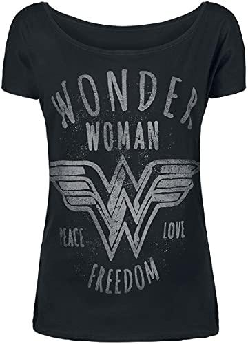 Wonder Woman Freedom Mujer Camiseta Negro S, 100% algodón, Ancho