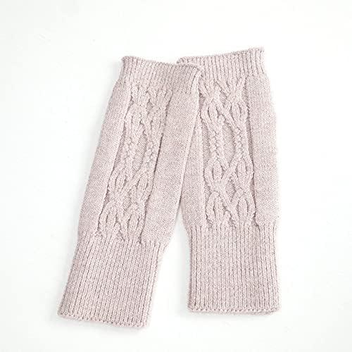 IREANJ Gloves Fine Soft Wool Thick Mitt Exposed Finger Women Cable Gloves Winter Autumn Knitted for Women Fingerless Gloves Wrist Mittens (Color : Beige HTHR)