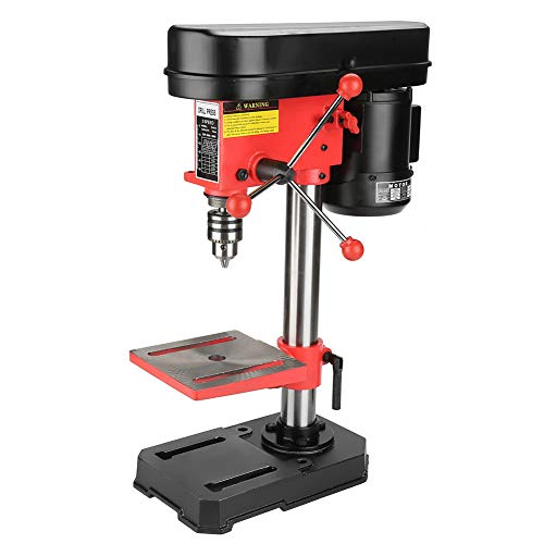 Bench Drill, Industrial Grade Benchtop Drill Press 5-Speed Drill Press Drilling Machine Workbench Drill Hold Press Adjustable DIY Stable Drill Press 350W 50mm UK Plug 230V Red Black