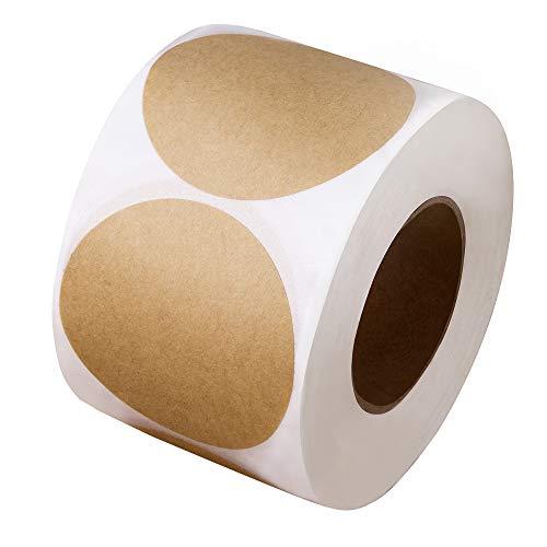 5 cm große, naturbraune Kraft-Aufkleber (500 pro Rolle) – runde Blanko-Aufkleber (permanent klebend) für Ladenbesitzer, Bastelarbeiten, Organisieren, Einmachgläser und Einmach-Etiketten, Preisschilder, Preisschilder