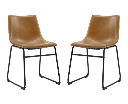 Walker Edison Furniture 18' Industrial Faux Leather Kitchen Dining Chair, Whiskey Brown