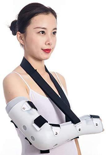 XIAOWANG Ellbogenstütze mit Scharnier - Armschlinge Ellbogen Schulter gepolsterte Unterstützung, Wegfahrsperre für gebrochenen Arm, Ellbogen und Schulter, verstellbare Schlinge für linken oder,Right