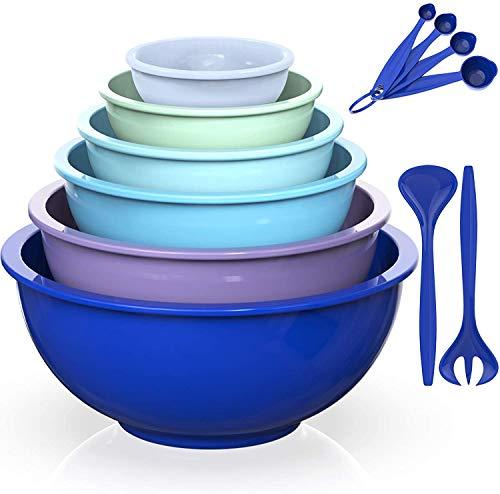AIKKIL Mixing Bowls Set- Plastic Nesting Salad Bowls Set, Includes 6PCS Mixing Bowls, 2PCS Fork, 4PCS Measuring Spoons, Ideal for Mixing & Serving (Blue Gradient, 12)