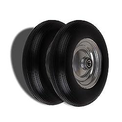 Forever Speed 2X Gummirad Vollgummi-Reifen Universal Schubkarren-Reifen PU auf Stahlfelge mit 150kg Traglast Ø390mm /4.00-8 ,Reifenbreite 90mm,Nabenlänge 85mm,Achsbohrung 25mm Schwarz